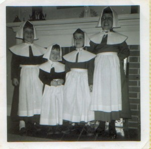 Brenda, Arlene, Sharon, Sally, as pilgrims 1968