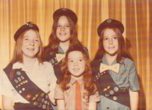 Brenda, Arlene, Sharon, Sally as Girl Scouts 1972