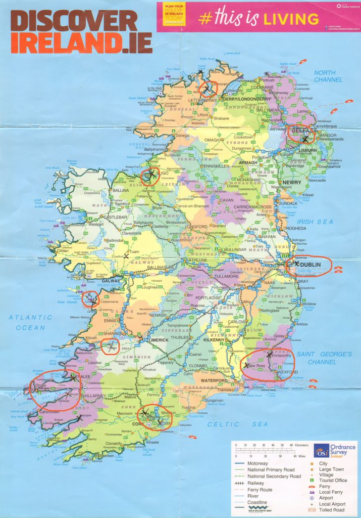 Map of Ireland showing the areas we visited (Dublin, Wexford, Cork, Kerry, Donegal, and Belfast)
